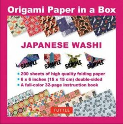 Origami Paper in a Box – Japanese Washi Patterns 200 sheets: 6×6 Inch High-Quality Origami Paper and  32-page Instructional Book