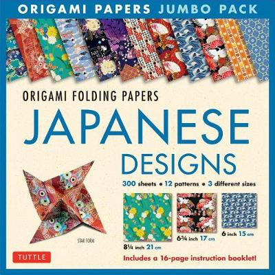 Origami Papers Jumbo Pack – Japanese Designs: 300 High-Quality Origami Papers in 3 Sizes (6 Inch; 6 3/4 Inch and 8 1/4 Inch) and a 16-Page Instructional Origami Book