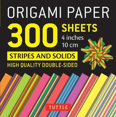Origami Paper – Stripes and Solids – 4 inch – 300 sheets: Tuttle Origami Paper: High-Quality Origami Sheets Printed with 12 Different Designs