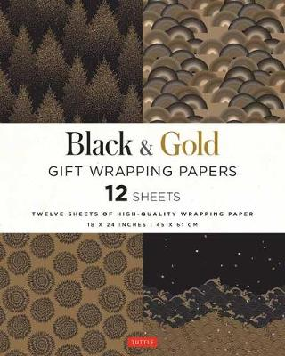 Black and Gold Gift Wrapping Papers: 12 Sheets of High-Quality 18 x 24 inch Wrapping Paper
