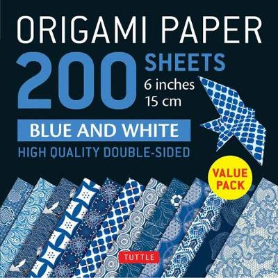 Origami Paper 200 sheets Blue and White Patterns 6″ (15 cm): High-Quality Double Sided Origami Sheets Printed with 12 Different Designs (Instructions for 6 Projects Included)