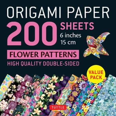 Origami Paper 200 sheets Flower Patterns 6″ (15 cm): High-Quality Double Sided Origami Sheets Printed with 12 Different Designs (Instructions for 6 Projects Included)