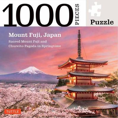 Mount Fuji Japan Jigsaw Puzzle – 1,000 pieces: Snowcapped Mount Fuji and Chureito Pagoda in Springtime (Finished size 24 in X 18 in)