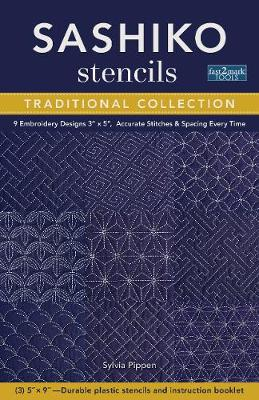 Sashiko Stencils, Traditional Collection: 9 Embroidery Designs 3″ X 5″, Accurate Stitches & Spacing Every Time
