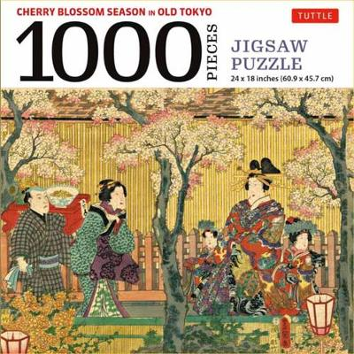 Cherry Blossom Season in Old Tokyo Jigsaw Puzzle 1,000 piece: Woodblock Print by Utagawa Kunisada (Finished Size 24 in X 18 in)