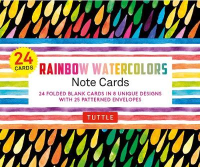 Rainbow Watercolors Note Cards – 24 Cards: 24 Blank Cards in 8 Unique Designs with 25 Patterned Envelopes